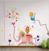 animal homes kindergarten - 180cm Large Size Pink Elephant Cartoon Height Wall Stickers For Kids Rooms Kindergarten Home Decor DIY Decoration wall stickers