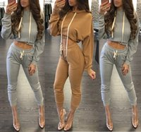 Wholesale 2016 new fashion high quality women casual cropped tops hoodies sweatshirts and pants two pieces sets suits tracksuits