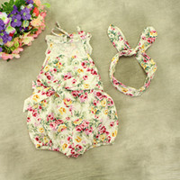 baby bunny outfit - INS baby girl toddler Summer clothes piece set outfits lace floral romper onesie bloomers diaper covers playsuits Rose bunny ear headband