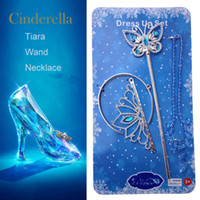Wholesale 2016 Newest Girl Cinderella Crown Set Crown And Butterfly Magic Wand And Necklace Cosplay Party Cinderella Set Crown Ljjc801 sets