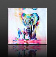 Wholesale 2016 New Arrival Warm Oil Painting Watercolor Painting HD Photo Print Canvas Unframed Cuddle Elephant