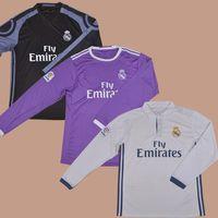Wholesale 2016 Real Madrid LS Club Team Home White Away Purple Long Shirt Football Soccer Jerseys BALE BENZEMA MARCELO MODRIC RONALDO SERGIO RAMOS