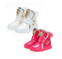 ankle boots with buckle - 2016 new winter children boots for plus velvet real rabbit fur girls boots kids snow boots cotton imitation shoes
