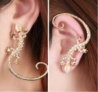 Wholesale Earcuff Ear Cuff Rhinestone Earrings Ear Cuff Elegant Golden Silver Plated Exaggerated Gecko Lizard Stud Earrings Animal Earrings