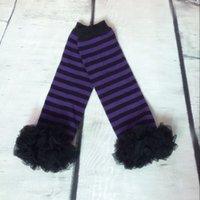 Wholesale Chiffon Ruffle Leggings - 5Pair lot Halloween Leg Warmers,Candy Stripes Purple Black Ruffle Leg Warmers,Baby Leg Warmers ,Autumn chiffon ruffle girls leggings
