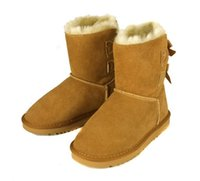 Wholesale Classic style Fashion Women s real leather snow boots with tie bowknot winter boots retail