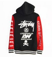 couples sweater - Stussy new winter sweater thick hooded cardigan alphabet M Slim tide male teen couple hoodies