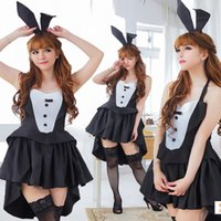 Wholesale Bunny Girl Hot Sexy Black Dress Halloween Costume Animal Cosplay Fancy Exotic Apparel Role Play Babydolls Lace Uniform Temptation