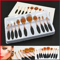 Wholesale Professional Makeup Brush Sets ROSE Gold Powder Foundation Brushes Cream Contour Powder Blush eyeShadow Concealer Oval beauty Brushes