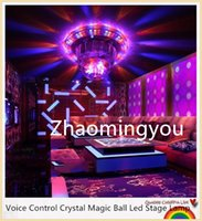 Wholesale Voice Control Crystal Magic Ball Led Stage Lamp Disco DJ Light Party Lights Sound Control Christmas Laser Projector
