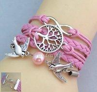 achat en gros de bracelet d'arbre à l'infini-Infinity Bracelets Bijoux Bracelets Charme Amour Love Peach Heart Hibou Bird Believe Wish Tree Croix Femmes Bracelets Bracelets