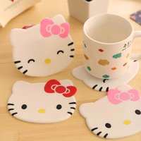 Wholesale 12 Cute kitty cup mat Silicone coaster placemats for Table decoration Stationery Office supplies School material