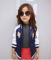 Wholesale Girls fashion long sleeved jacket embroidered jacket of new fund of autumn outfit British children children s clothes