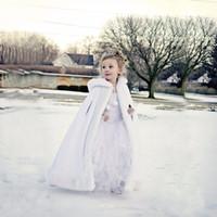 Wholesale Cape Jackets For Kids - Lovely Girls Cape Custom Made Kids Wedding Cloaks Faux Fur Jacket For Winter Kid Flower Girl Children Satin Hooded Child Coats