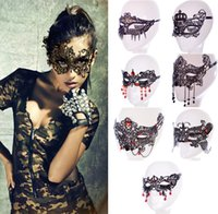 Wholesale 2016 New Dancing Party Women Lace Half Mask Fancy Ball Masquerade Red Rhinestone Masks Girls Sexy Mask For Prom Halloween Costume