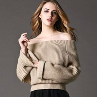 batwing jumper knitwear - 2016 New Women Off Shoulder Sweaters Autumn Winter Full Sleeve Casual Pullover Poncho Loose Knitted Sweater knitwear jumper FS0732