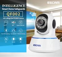 al por mayor dos cámaras de vigilancia-ESCAM QF002 HD 720P Cámara de vigilancia de seguridad doméstica P2P Pan / Tilt IR Cámara bidireccional de audio Wifi IP
