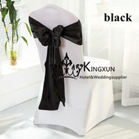 Wholesale Wedding Banquet White Spandex Chair Cover With Black Color Satin Chair Sash