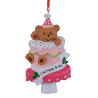 Wholesale Bear Cake Cup Baby st First Christmas Ornaments Personalized Hand Painted Diy Polyresin Craft Souvenirs Birthday Gifts