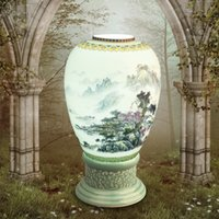 Wholesale Royal Creative Bedroom Living Room Eggshell Ceramic Base Hand painted Artistic Ceramic Lampshades Table Lamp