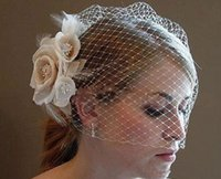 beautiful bird cages - The bride beautiful veil in summerWedding birdcage veils champagne ivory white flower feather bird cage