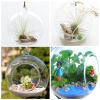 Wholesale Modern Hanging Clear Flat Bottomed Crystal Glass Vase Flower Balls Terrarium Vases For Wedding Decoration Home Decor cm Gift L21