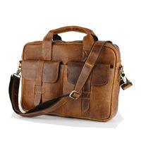 Wholesale Fashion Vintage Crazy horse Leather handbags Men Messenger Bags genuine leather shoulder bags laptop Briefcase LI