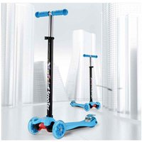 Wholesale High quality flashing four wheels children scooter adjustable height pull up hanlde stick DHL