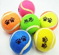 bouncing balls - 10pcs cm footprints tennis dogs special toy rubber ball resistant to biting bouncing ball training outdoor throwing game pet supplie