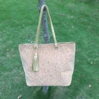 Venta al por mayor Blanks Cork Bolsa de tela PU Faux cuero bolso de totalizador Casual grandes bolsos con borla DOM103405