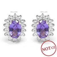 alexandrite stud earrings - uxury Alexandrite Sapphire Stud Earrings Princess Diana William Engagement Wedding Solid Genuine Sterling Silver silver cross chain n