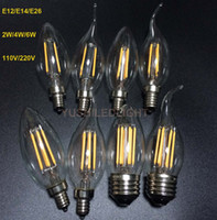 Wholesale Candle Warmers White Wholesale - 6Pcs E12 E14 E26 Dimmable 2 4 6W Vintage LED Filament Candelabra Bulbs 110lm w 2700K 110V 220V C35 Bullet Top C35T Bent Tip CE,UL Approval