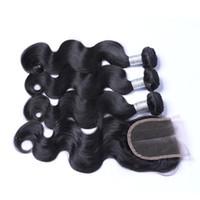 Paquete peruano del pelo 3 de la Virgen de la onda del cuerpo con el encierro peruano del pelo humano del grado del encierro 7A con 4x4 liberan / medio / la cerradura del cordón de la parte tres
