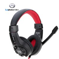 Cheap LUPUSS Adjustable 3.5mm Esport Headphone Game Gaming Headphones Headset Low Bass Stereo with Mic Wired for PC Laptop Computer