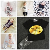 Cheap Unisex Kids Ins Outfits Sets Suits Best Spring / Autumn Cotton Blends Baby Ins Suits T shirts Pants