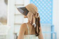 adjustable plastic ties - Wide PVC brim folding women sun hat cm length neck protection UV prevent UPF woman bonnet summer beach hat