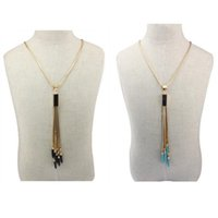 Wholesale Womens Fashion Box Chain Necklace Turquoise Tassel Pendant Charms Ladies Jewelry