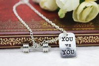 barbells and weights - Fitness Weightlifting Gym necklace sports Dumbbell barbell weight and you vs you charm pendant necklace