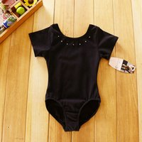 ballet leotards children - 4 T Baby Girls Black Dance Leotard with Diamond ballet dress Children Gym leotard kids Short Sleeve Performance Ballet Cloth