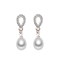 Wholesale 201 Fashion Genuine Freshwater Cultured Pearl Earrings Stud Rose Gold Plated For Women Item High Quality Pearls Jewerly