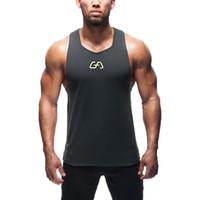 Wholesale 2016 fashion cotton Gym sleeveless shirts tank top men Fitness shirt mens singlet sport Bodybuilding Plus size gym vest