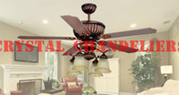 Wholesale Ceiling Fan European Retro Glass Wood Ceiling Fan Light Dining Room Pendant Light Remote Control Light L mm H mm