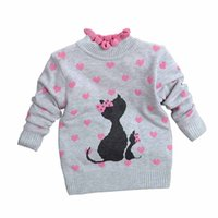 Wholesale 2016 Knitted Sweaters for Children Cute Cartoon Print Dot Ruffled Turtleneck Pullover Baby Girls Sweater Long Sleeve Top Kids Clothes