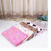 bedding dog print - New Size Cute Floral Pet Warm Paw Print Dog Puppy Fleece Soft Blanket Beds Mat WA1265