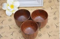Wholesale 4pcs Natural Solid Wooden Bowl Handmade Eco friendly Wood cups