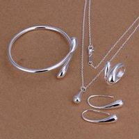 Wholesale Wedding Jewelry Set Silver Jewelry Sets Silver Water Drop Bangles Bracelets Pendant Necklace Finger Rings Earrings