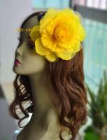 al por mayor accesorios para el cabello de flores de color amarillo-Amarillo accesorio de seda del pelo de la flor del 15cm para el clip de pelo del perno de la broche de sinamay hat.with del fascinator.