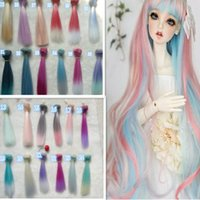 Wholesale 2PCS Retail CM Synthetic Doll Hair Straight DIY SD BJD Wig Pink