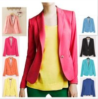 best ladies suit - 8 color sell best Candy Colors Women s Blazer Suit with Single Button Celebrity Black Mint Pink Blue Orange Yellow Ladies Jacket XS S M L XL