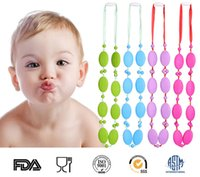 Beaded Necklaces baby food usa - Quality Food grade silicone teething necklace Moms beads Necklaces Baby chewable necklace fashion new Oblate cm European USA exported